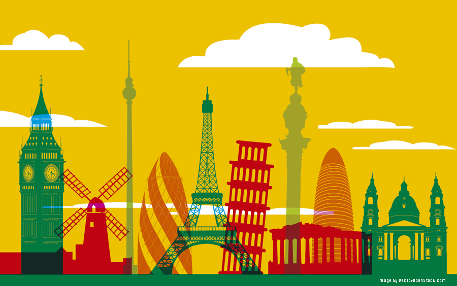 Europe monuments skyline background